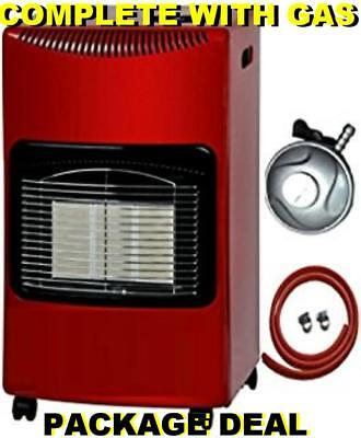 New Matt Red Large Complete With Calor Gas Bottle & Reg Portable Mobile Heater • 499.95£