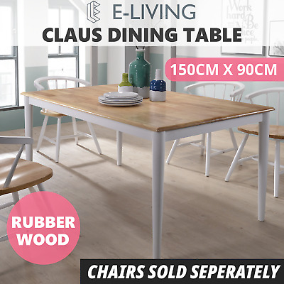 AU259 • Buy CLAUS Dining Table Solid Timber Furniture Natural Oak White - 1.5M 6 Seater