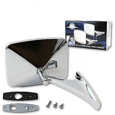 $44.95 • Buy 73-91 GMC Truck Chrome RH Outside Rectangle Square Convex Rear View Door Mirror