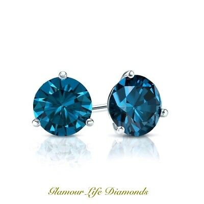 a588c7cf7 1.0 Ct Round Martini Blue Diamond Earrings Solid 14k White Gold Screw Back  Studs • 87.98
