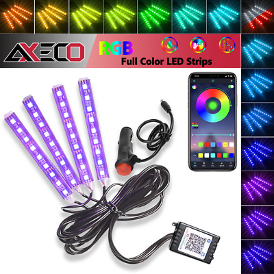 $ CDN19.49 • Buy 4x 9 LED RGB Car Interior Atmosphere Light Strip Phone Bluetooth APP Control