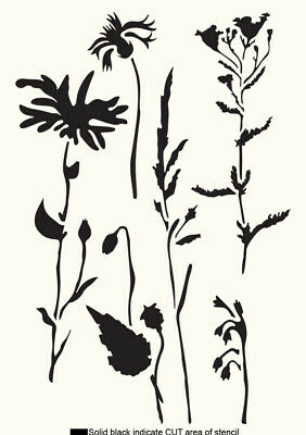 £5.49 • Buy Meadow STENCIL Floral Paint Wall Furniture Cardmaking Reusable Crafts Art FL81