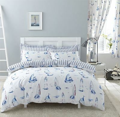 Nautical Boats Stripes Blue 144 Tc Cotton Blend King Size Duvet Cover • 35.99£