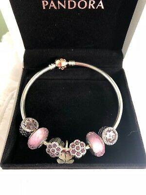 AU320 • Buy AUTHENTIC PANDORA ROSE GOLD BRACELET With 7 Silver CZ Beads And Charns