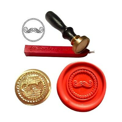Wax Stamp, MOUSTACHE Mens Grooming Coin Seal And Red Wax Stick XWSC110-KIT • 10.99£