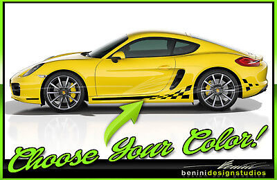 Porsche 911 Cayman Boxter Macan All Years Checkered Flag Racing Stripes Checkers • 44.99$