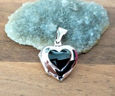 £12.99 • Buy 925 Sterling Silver - Heart Shaped Locket Onyx, Abalone Or Pearl - Two Sizes