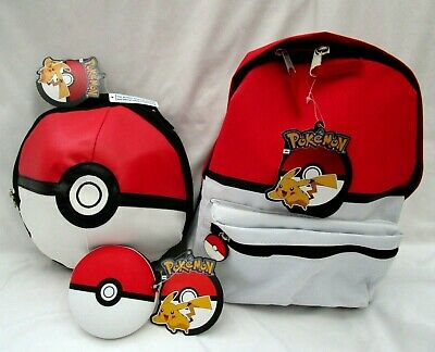 Pokemon Ball 12  Backpack With Compartments+Pokemon Ball Lunch Bag+Coin Wallet • 70.75£