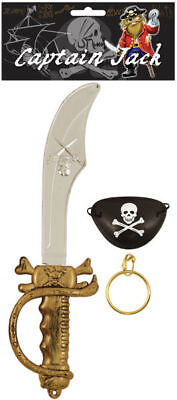 3 Piece Pirate Costume Set - Sword Cutlass Eyepatch Earring Fancy Dress Children • 2.39£