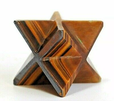 Crystal For Grounding - Tigers Eye Hand Carved Merkaba Star Stone Gift Wrapped • 8.99£