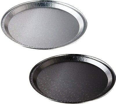 Round Foil Party Platters Black Silver Serving Platter Buffet Catering Food  • 11.99£
