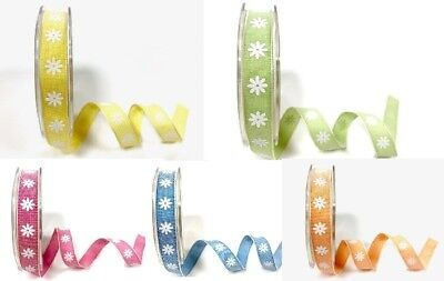 Bertie's Bows 15mm Daisy Print Ribbon - Sold By The Metre Or On A 20m Roll • 0.99£
