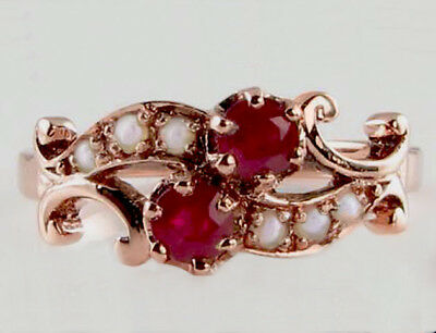 AU349.18 • Buy R266 Genuine 9ct 9K Rose Gold Natural Ruby & Pearl By-pass Ring Made In Yr Size
