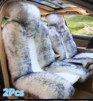 $ CDN139.46 • Buy 2Pcs Car Front Seat Cover Cushion Genuine Australian Sheepskin Fur Winter Warm