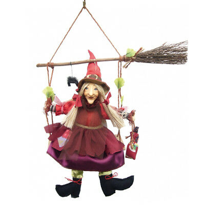 Witches Of Pendle - Olivia Witch Hanging From Broom (Burgundy) 24cm WOPOLIV24BUR • 24.95£