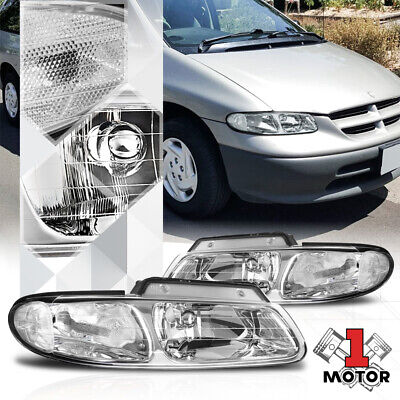 $65.86 • Buy Chrome Housing Headlight Clear Signal Reflector For 96-00 Town&Country/Voyager