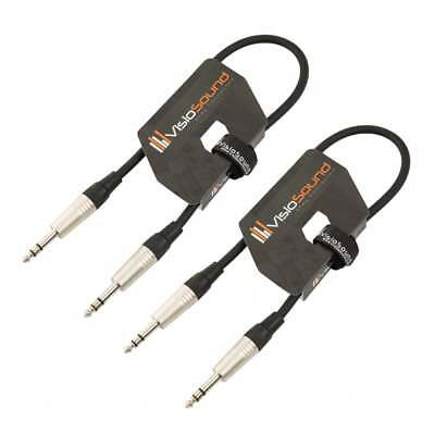 2x 6.35mm 1/4  Stereo TRS Jack Lead / Balanced Signal Audio Patch Cable / 2 Pack • 8.99£