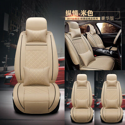 $ CDN88.70 • Buy 2pc For Front Car Seat Cover Cushion+PU Leather W/Pillows Head Cap Beige M Size