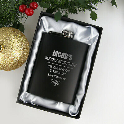 Engraved Personalised Christmas Black 7oz Hip Flask With Satin Lined Gift Box