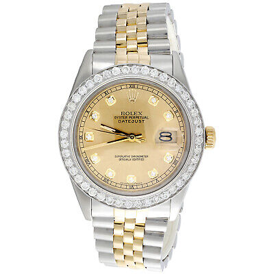 $ CDN9508.91 • Buy Mens 36mm Rolex DateJust Diamond Watch 18K Two Tone Jubilee Champagne Dial 2 CT.