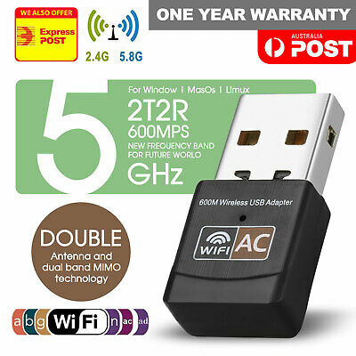 AU8.99 • Buy Dual Band 600Mbps USB WiFi Wireless Dongle AC600 Lan Network Adapter 2.4GHz 5GHz