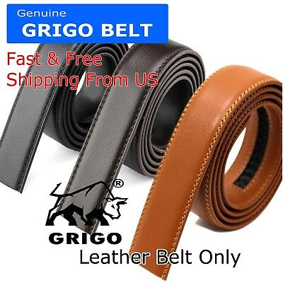 $6.95 • Buy Fashion Men's Automatic Real Leather Ratchet Belt Strap Jeans Waistband Gift