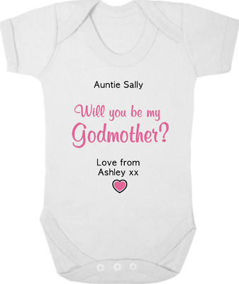 £8 • Buy PERSONALISED Will You Be My GODMOTHER? New Baby Bodysuit/Grow/Vest, Christening
