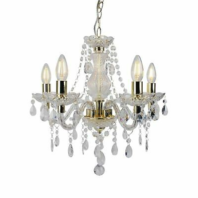 £54.99 • Buy Modern Classic Clear & Gold Marie Therese 5 Light Ceiling Pendant Chandelier