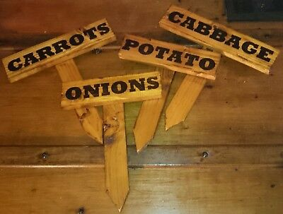 £2.40 • Buy Wooden Allotment Garden Vegetable & Herb Signs Rustic Wood Labels Plant Markers