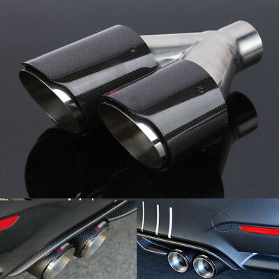 $ CDN171.02 • Buy 63mm Real Carbon Fiber Dual Pipe Exhaust Exhaust Tail Muffler Tip Right Durable