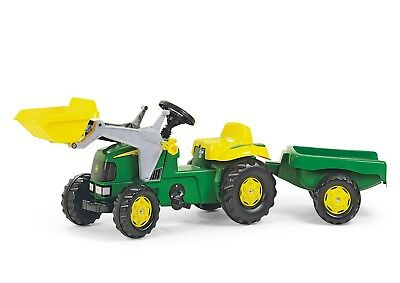 £114.99 • Buy RollyKid John Deere Ride On Pedal Tractor + Front Loader + Kid Trailer - Rolly
