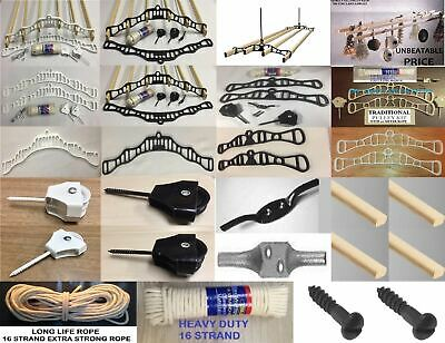 £33.42 • Buy Victorian Traditional Kitchen Clothes Airer Dryer Maid Pulley Kits Mounts/ Parts