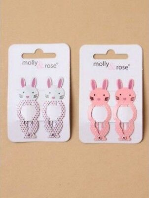 $ CDN3.96 • Buy Ladies Girls Kids 2 Pk 5cm Sleepies Hair Grips Clips Pink Or White Bunny Rabbit