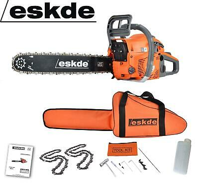 "View Details Petrol Chainsaw 58cc 3.4HP Engine 20"" Bar 2 Chains Bag Cover Tree Log Wood Chop • 79.99£"