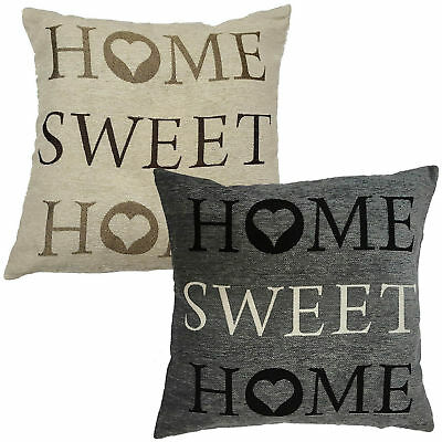 £4.99 • Buy Panache Home Sweet Home Tapestry Cushion Cover, 43x43cm - Beige Grey Terracotta