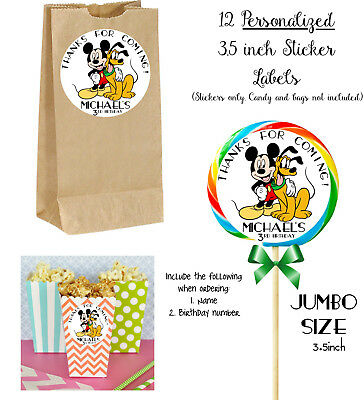 $8.99 • Buy 12 Mickey Mouse Personalize JUMBO STICKERS For Lollipops, Goody Bags 3.5inch