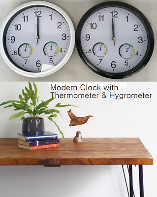 AU16.95 • Buy Modern Wall Clock Quartz Analogue For Home Office Kitchen 30cm White Or Black