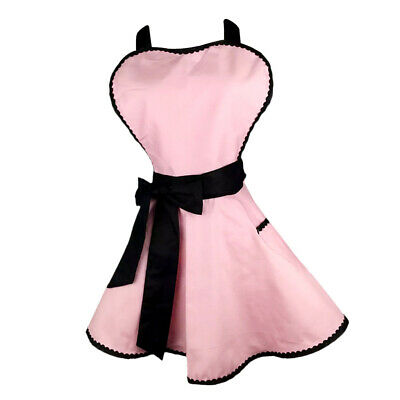 Lady Princess Pink Apron Cotton Apron With Pocket For Woman Cooking • 13.48£