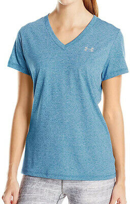 Under Armour Threadborne Womens Running Top Blue Short Sleeve T-Shirt XS 8 S 10 • 14.99£