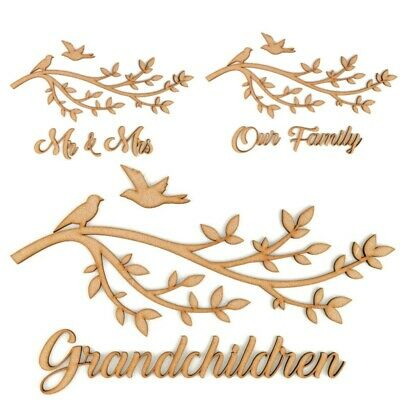 £3.75 • Buy Wooden MDF Family Tree Branch  Craft Shape Decoration Guestbook Wedding Frame