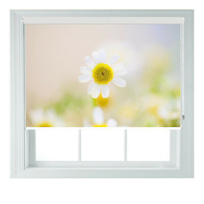 White Spring Daisy Photo Printed Blackout Scenic Roller Blind Made To Measure  • 85£