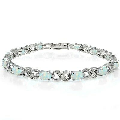 £35.39 • Buy Sterling Silver Created White Opal And Diamond Accent Infinity Tennis Bracelet