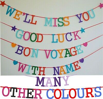 Happy Retirement Banner Bunting BON VOYAGE WELL MISS YOU Welcome HOME Good Luck • 4.75£