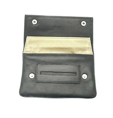 Soft Black Leather Cigarette Tobacco Pouch Case Organiser Rolling Paper Pocket • 11.99£