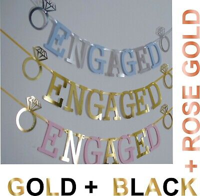 ENGAGED BANNER ENGAGEMENT PARTY DECORATION Gold SILVER PINK BLUE With RINGS • 2.99£