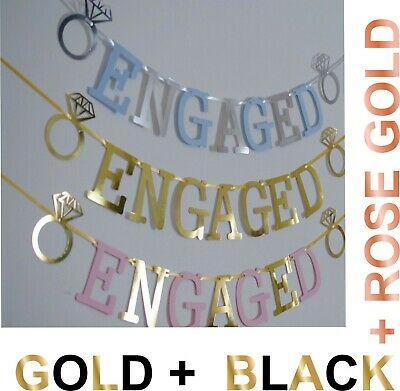 £2.99 • Buy ENGAGED BANNER ENGAGEMENT PARTY DECORATION Rose Gold SILVER PINK BLUE With RINGS