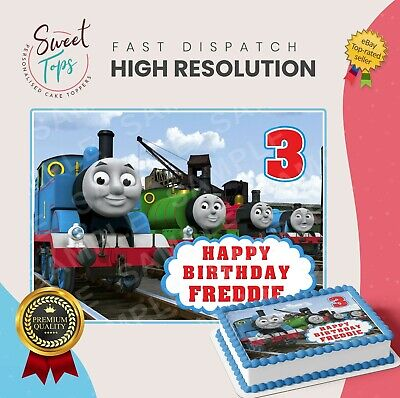 Thomas The Tank Engine Rectangle Edible Cake Topper Decoration Personalised • 6.99£