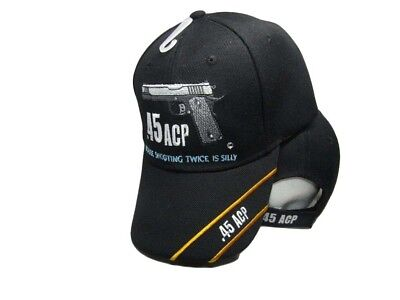 $ CDN12.24 • Buy 2nd Amendment .45 ACP Shooting Twice Is Silly Black Embroidered Cap CAP973E Hat