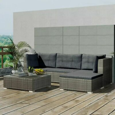 AU594.99 • Buy VidaXL 14 Pieces Garden Lounge Set Poly Rattan Grey Outdoor Lounge Couch
