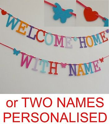 £3.99 • Buy PERSONALISED Welcome Home Banner Bunting MULTI Colour Letters Garland Decoration